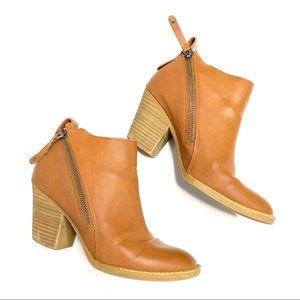 DV Dolce Vita cognac zipper heeled ankle bootie